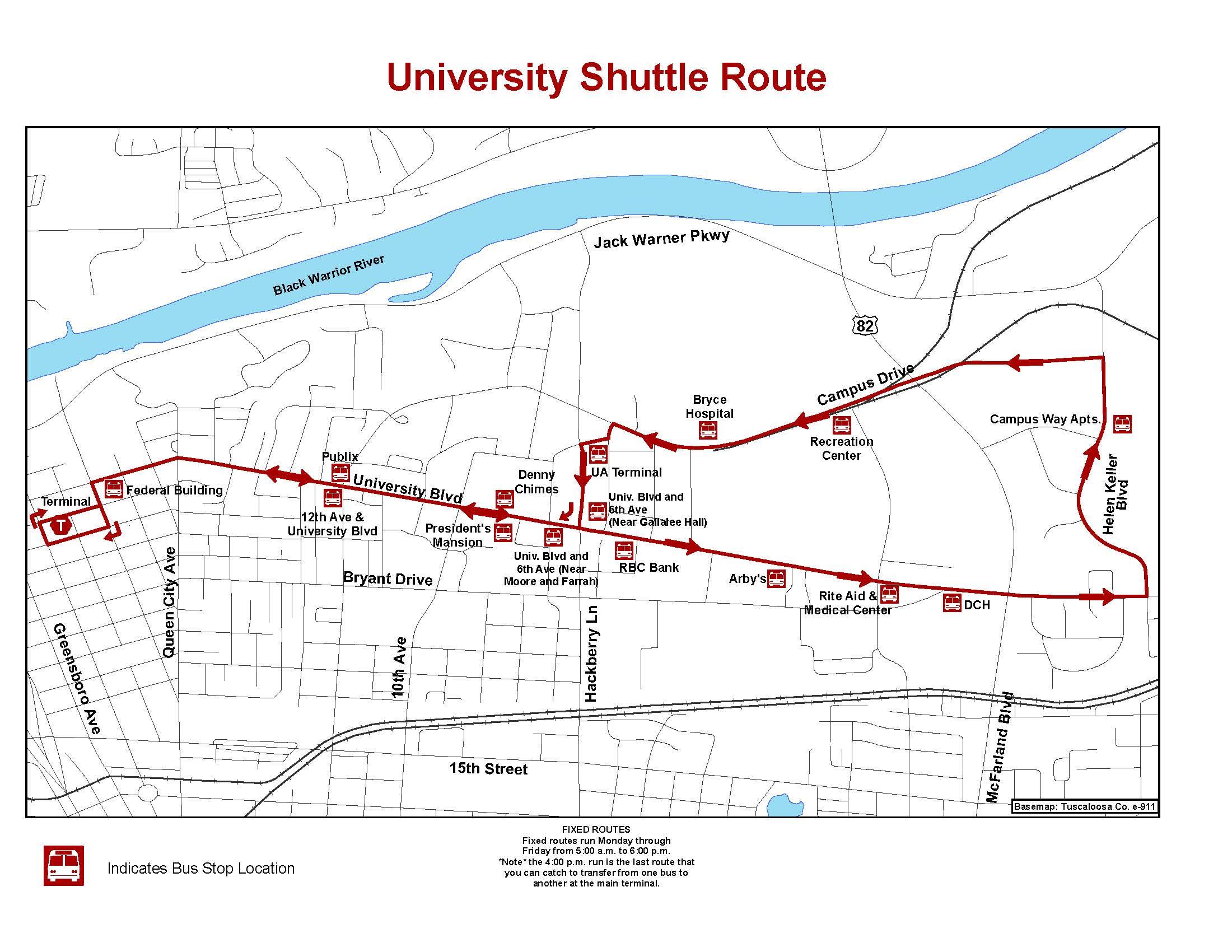 Tuscaloosa Transit Authority - University Shuttle Route